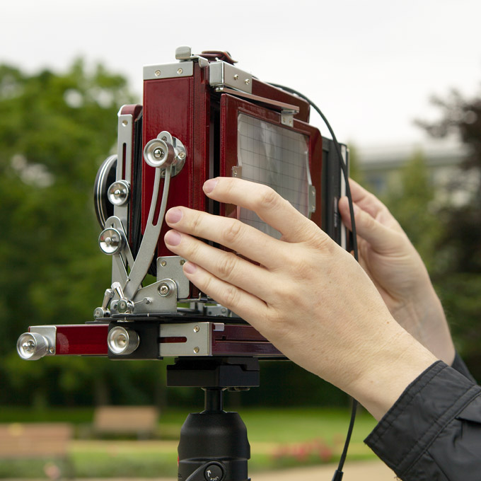 Inserting the film holder into the field camera